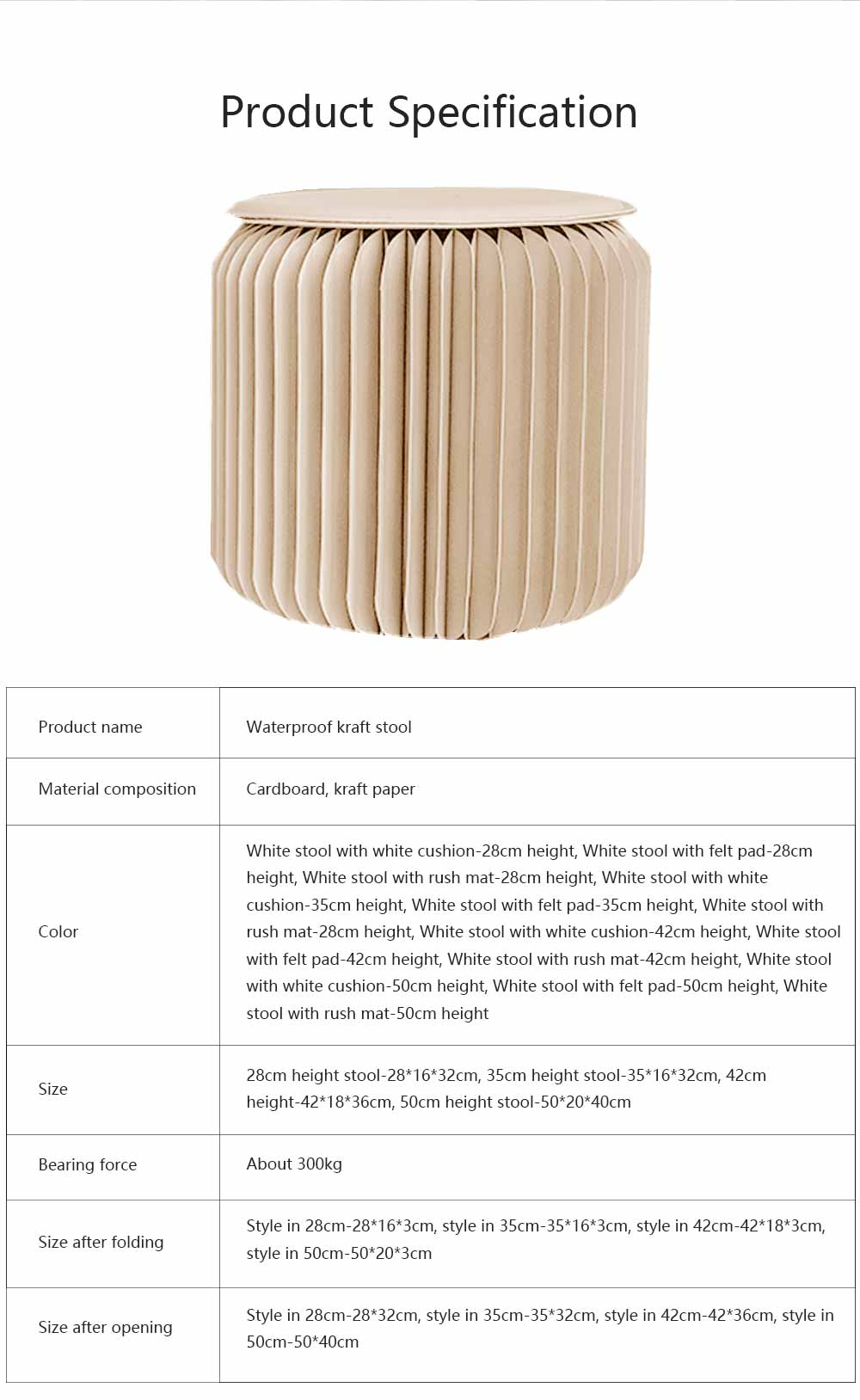 Portable Creative Folding Kraft Stool with High Load Bearing Capacity Kraft Sofa Single Stool Waterproof 7