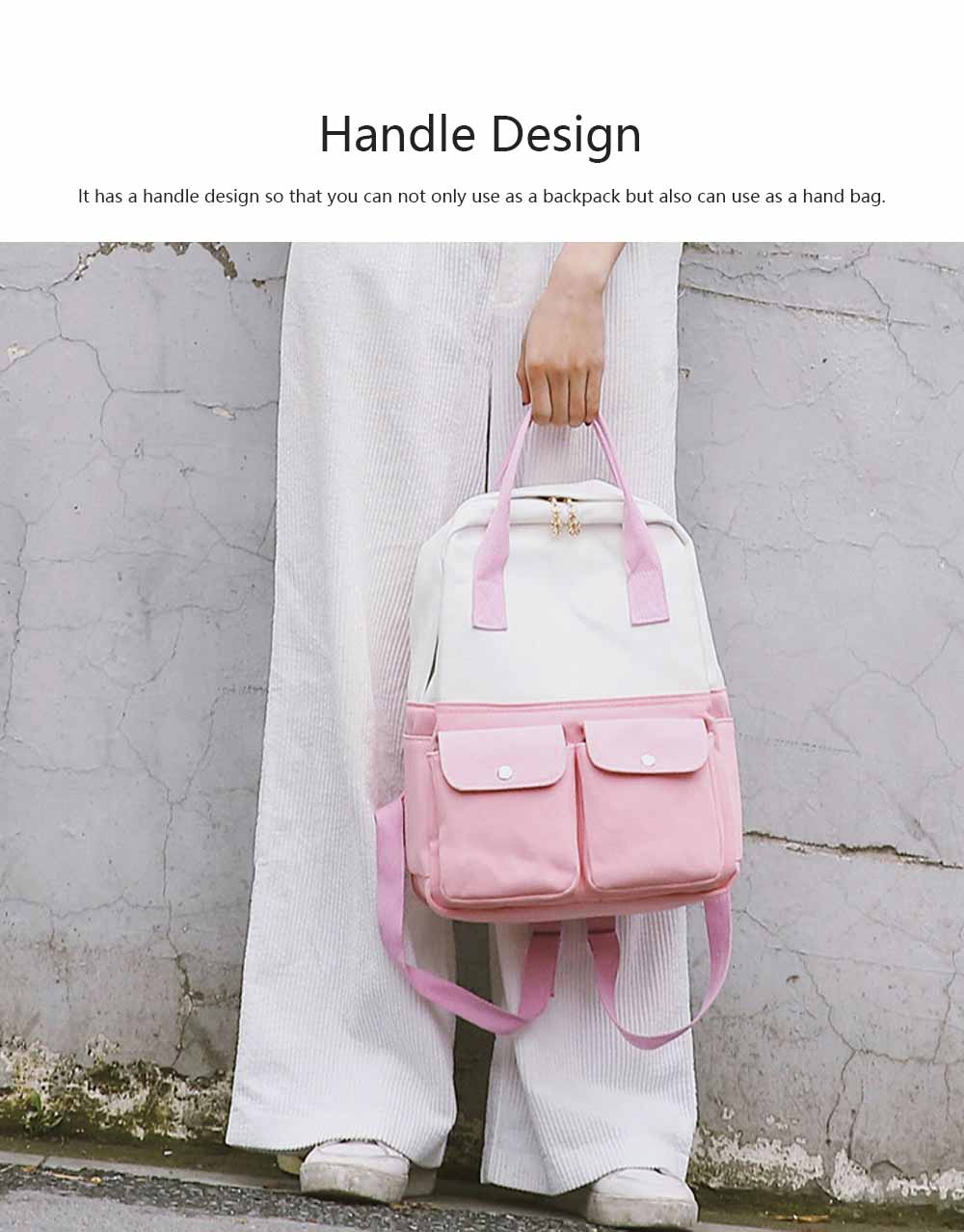 Fresh Style Backpack for Women and Girls with Handle and External Pockets Double Zipper Recreational Style Canvas Bag 2