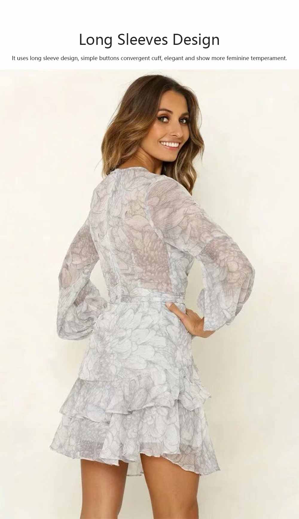 Women Deep V Neck Dress Printed Floral Long Sleeves Dress with Waist Strap for Lady 1