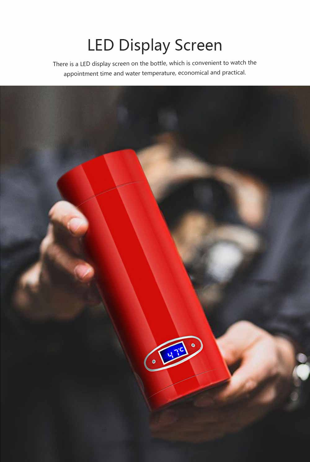 Portable Led Electric Heating Cup Intelligent Stainless Steel Thermos Cup 304 Stainless Steel 55 Degree Constant Temperature Hot Water Cup 4