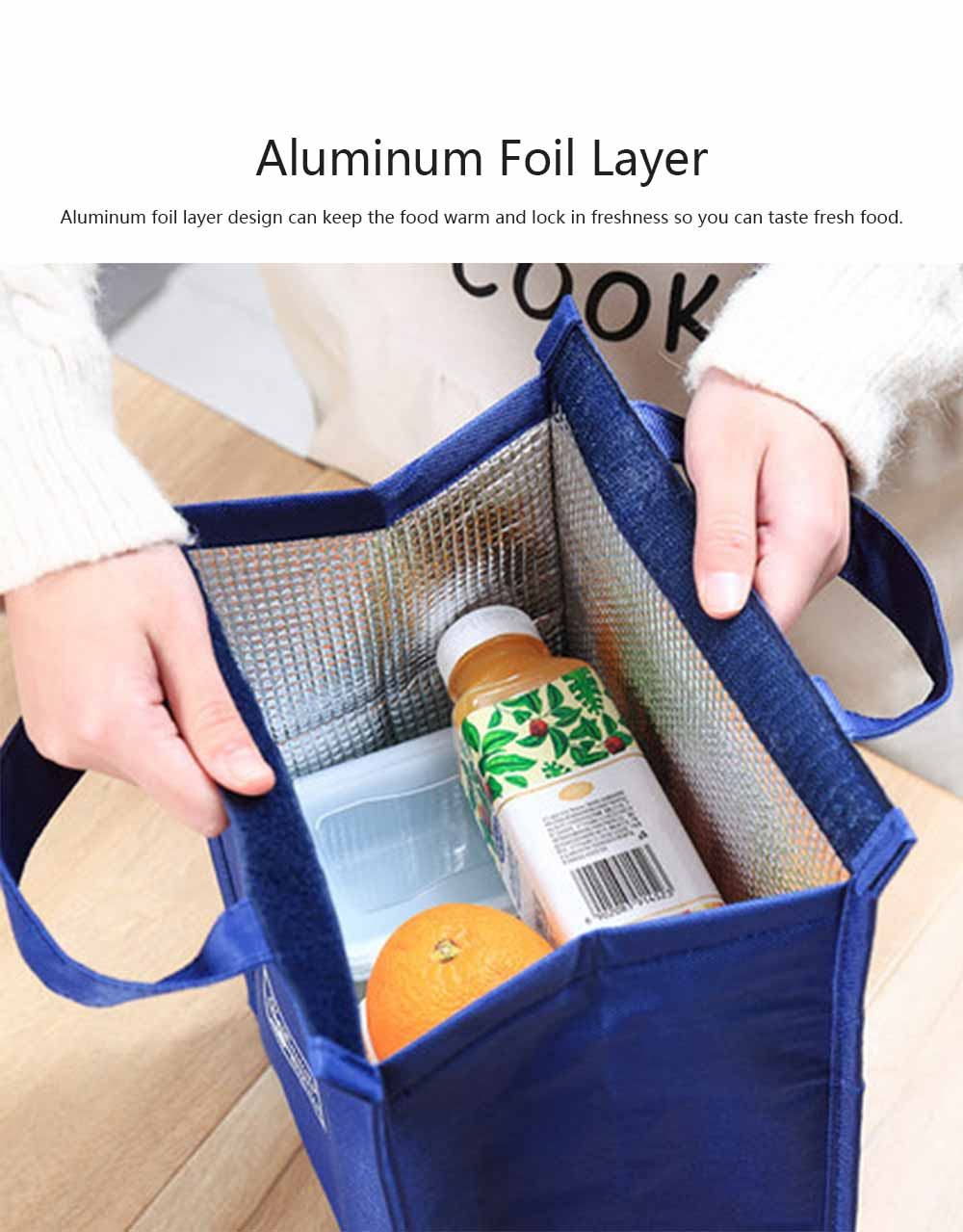 Lunch Box Handbag Water and Oil Proofing Aluminum Foil Layer Oxford Cloth Large Capacity Heat Preservation Bags 3