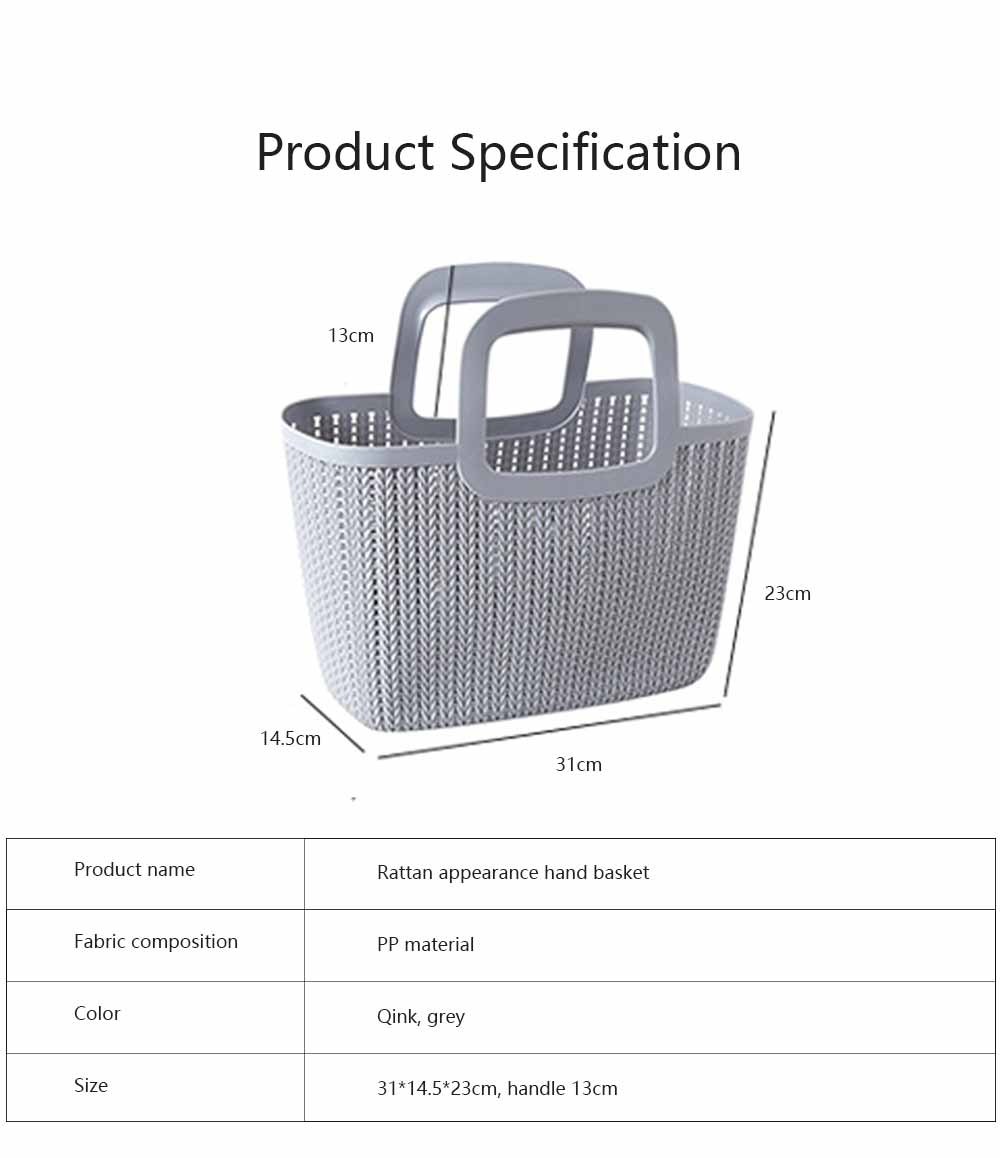 Rattan Appearance Hand Basket for Housewife Handle Design Multipurpose Higher Bottom Plastic Shopping Crate 6