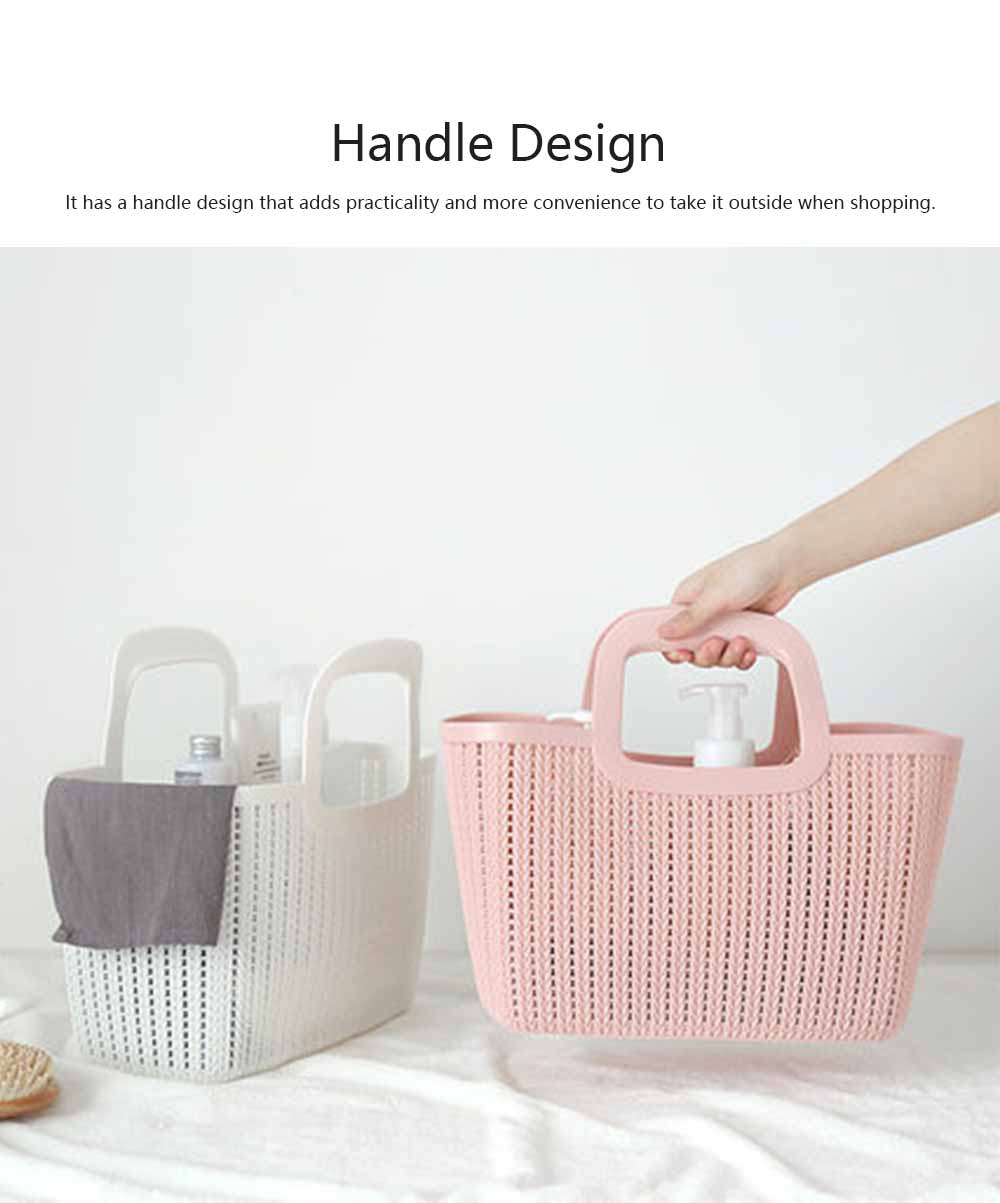 Rattan Appearance Hand Basket for Housewife Handle Design Multipurpose Higher Bottom Plastic Shopping Crate 2