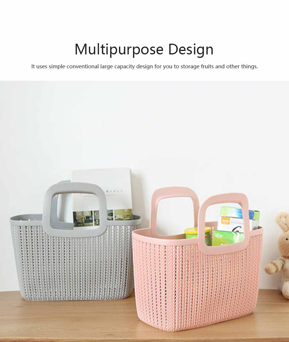 Rattan Appearance Hand Basket for Housewife Handle Design Multipurpose Higher Bottom Plastic Shopping Crate 4