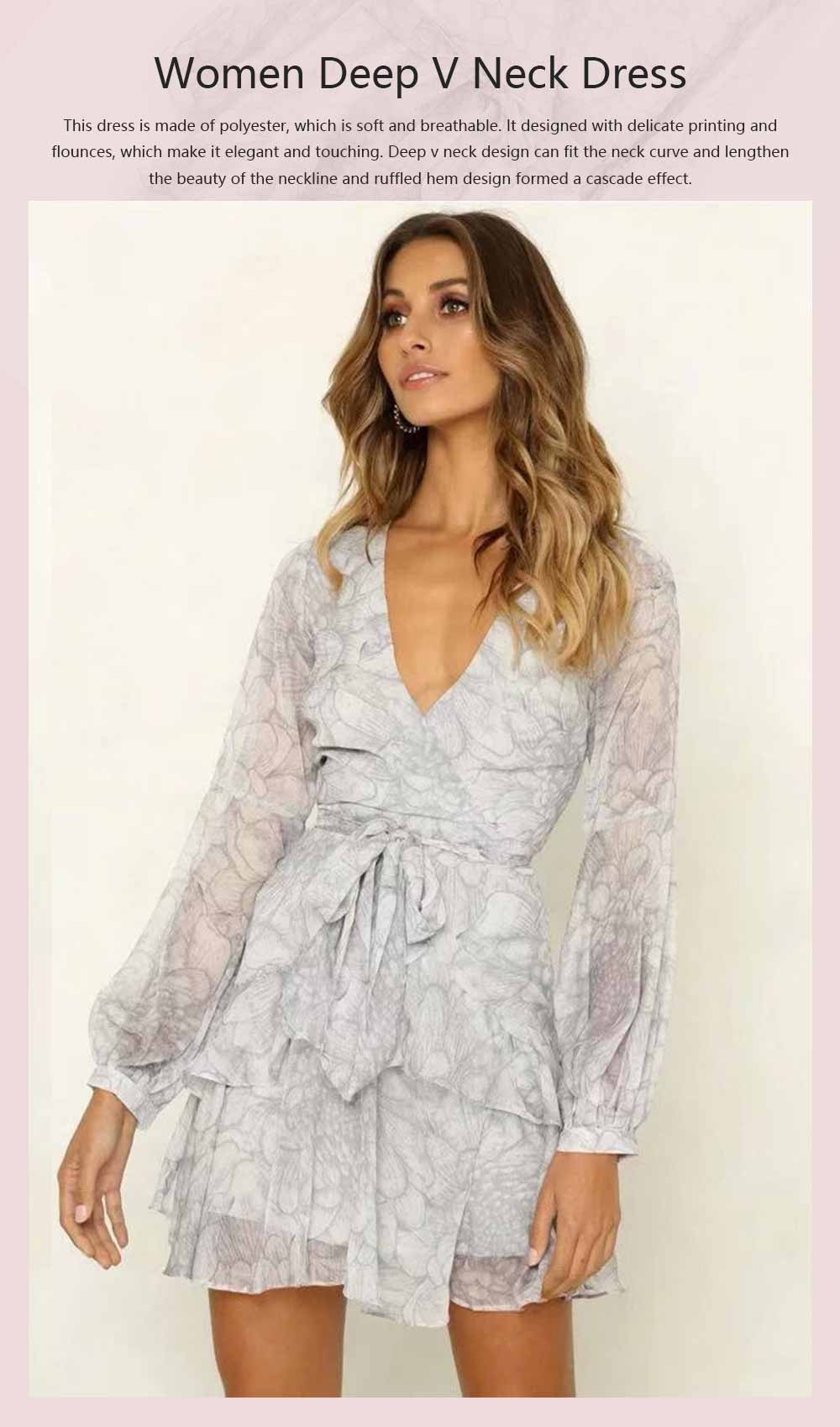 Women Deep V Neck Dress Printed Floral Long Sleeves Dress with Waist Strap for Lady 0