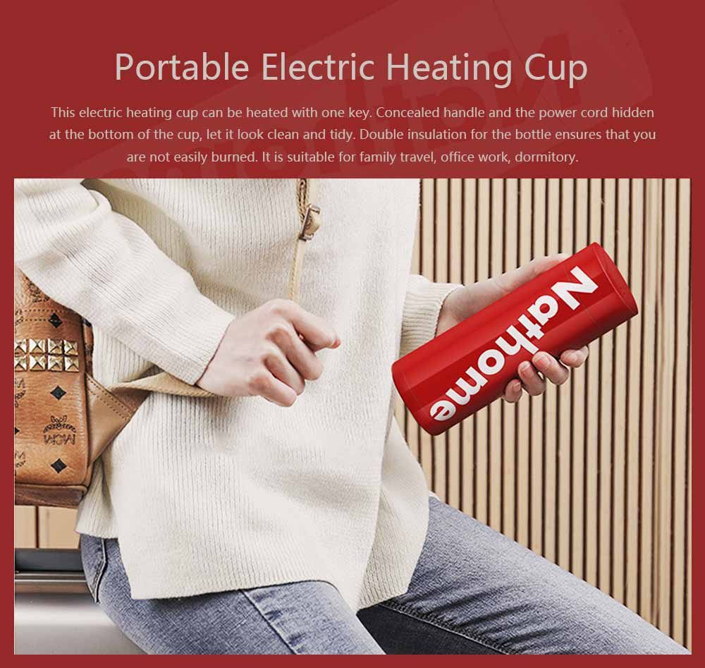 Portable Led Electric Heating Cup Intelligent Stainless Steel Thermos Cup 304 Stainless Steel 55 Degree Constant Temperature Hot Water Cup 0