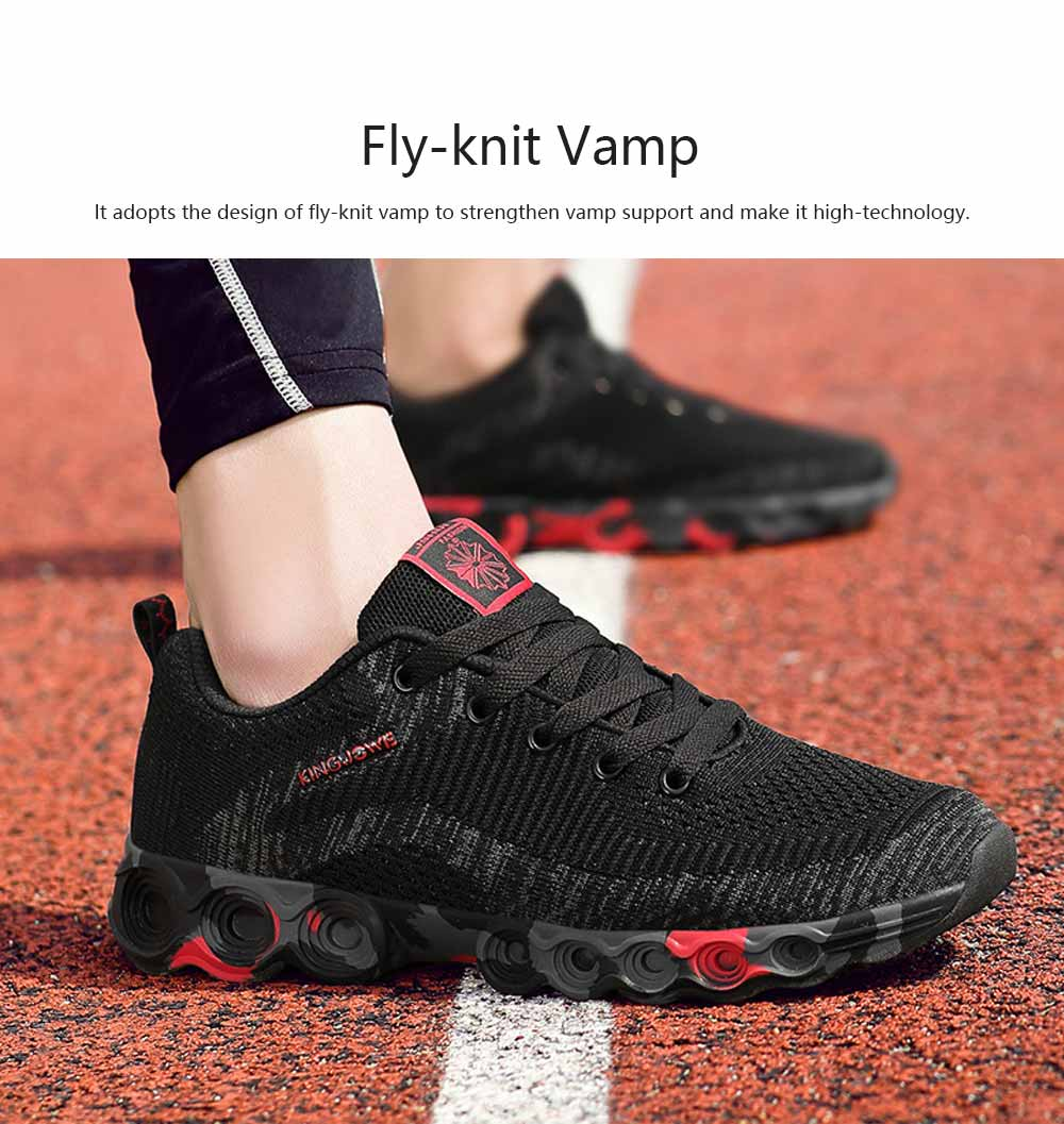Fly-knit Sneakers for Men Concave Convex Texture Comfortable Lining Shock Absorption Rubber Sole Sports Shoes Spring and Summer 1
