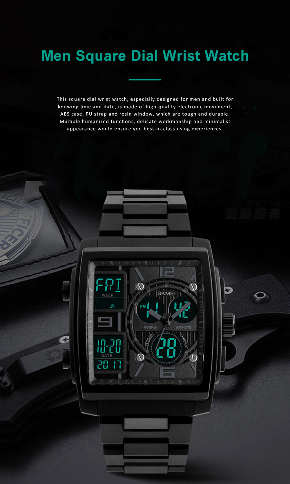 Stylish Minimalist Multifunctional Three Times Square Dial Casual Outdoor Sports Men Electronic Movement PU Strap Wristwatch 0