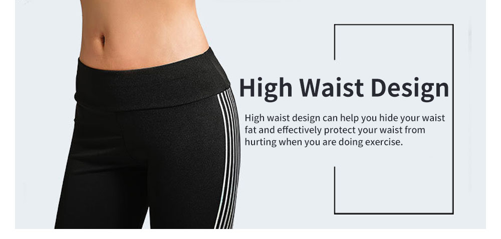 Simple Stylish Laser Stripes Decorative Sport Pants for Ladies Smooth Yoga Dance Exercise Fitness Pants 2
