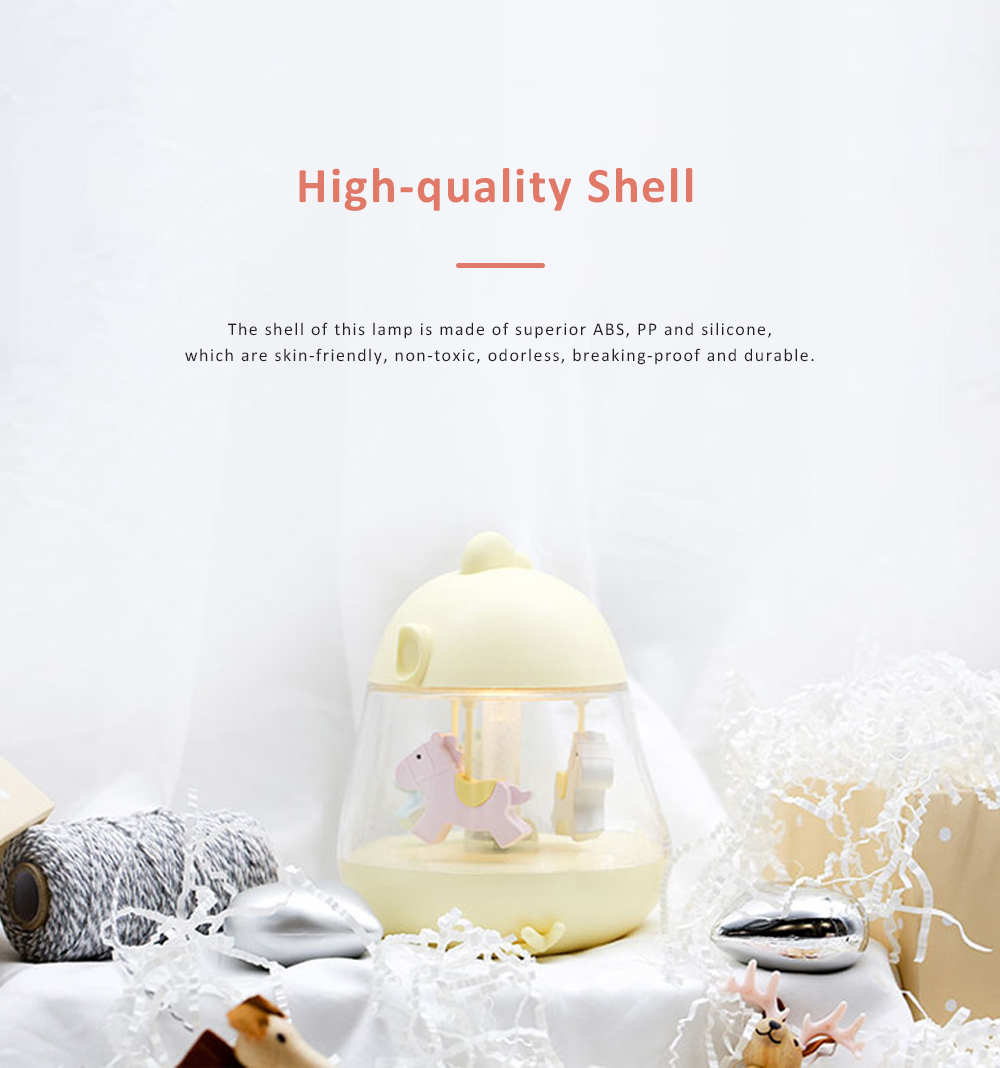 Multifunctional Trojan Music Light Cute Delicate Carousel Decorative Bedside Night Light Soft LED Sleep Lamp Music Box Christmas Birthday Valentine's Gift 1