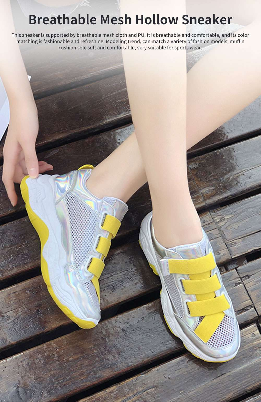 Student's Mesh Hollow Sneakers Breathable Magic Sticker Thick-soled Muffin Shoes, Women's Sneakers 0