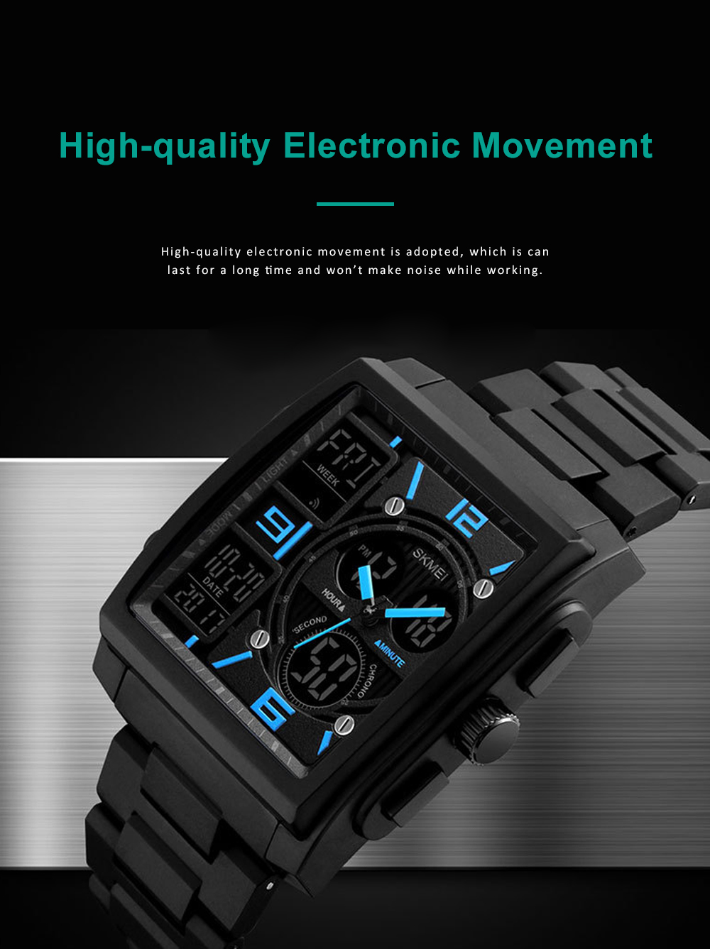 Stylish Minimalist Multifunctional Three Times Square Dial Casual Outdoor Sports Men Electronic Movement PU Strap Wristwatch 2