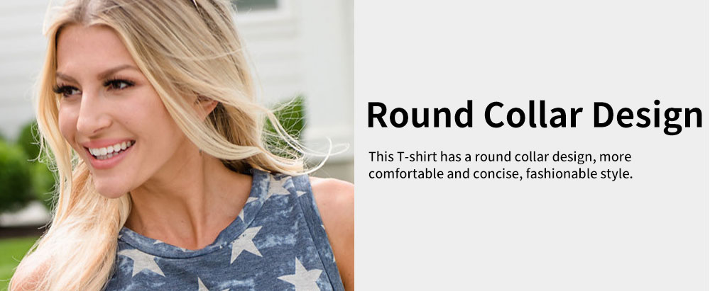 Lady's T-shirt with Round Collar Printing Sleeveless American Independence Day Printing T Shirt 5