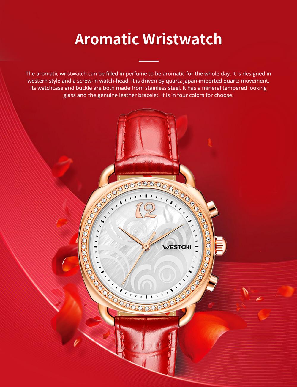 Fashionable Women's Wristwatch with Perfume Smell Screw-in Watch-head Wear Resistant Leather Miyota Quartz Watch 0
