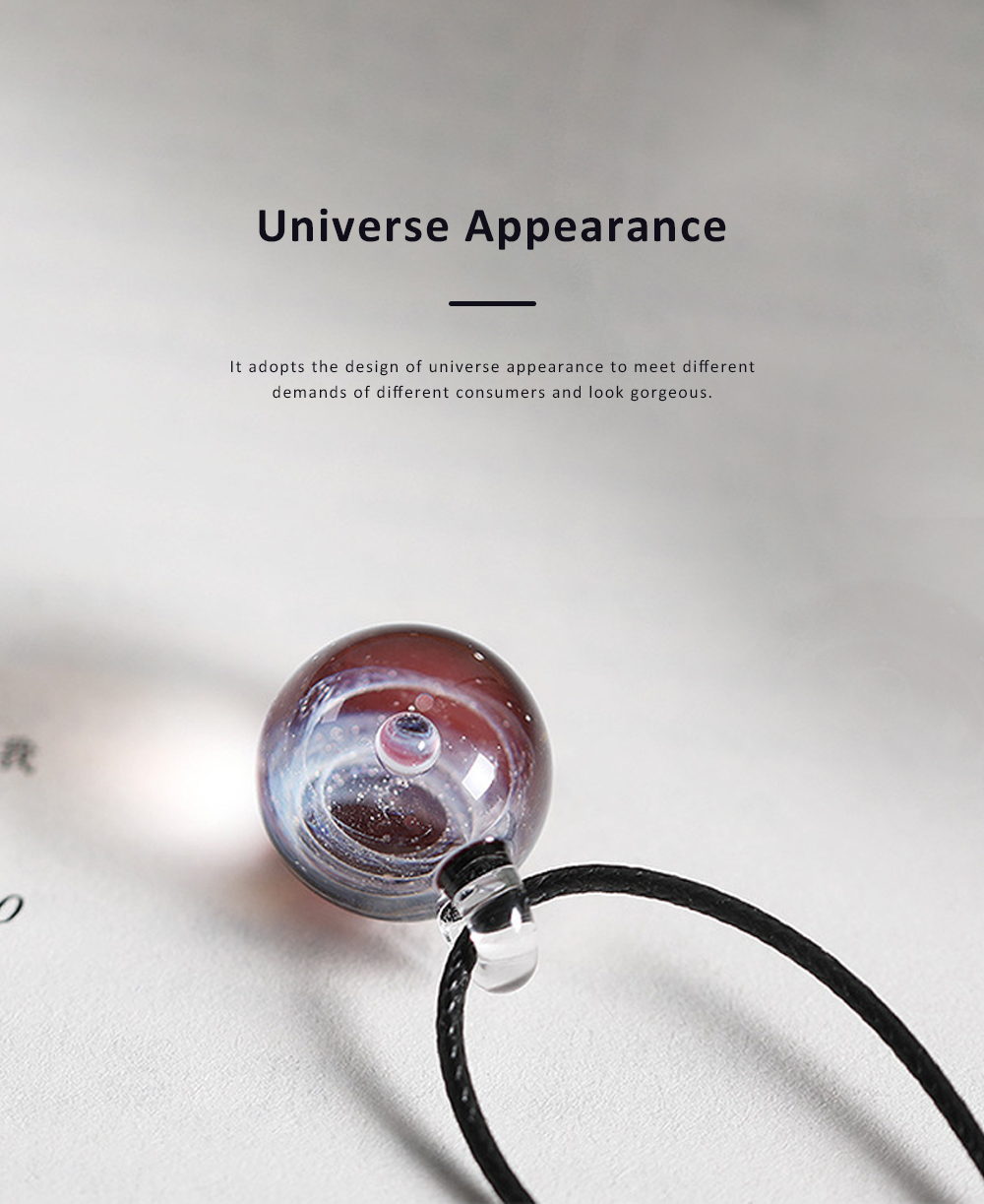 Cosmic Starry Glass Ball Necklace for Couple Gold and Silver Powder Multilevel Image Heat Resistant Natural Glass Decoration Valentine's Day Gift 1