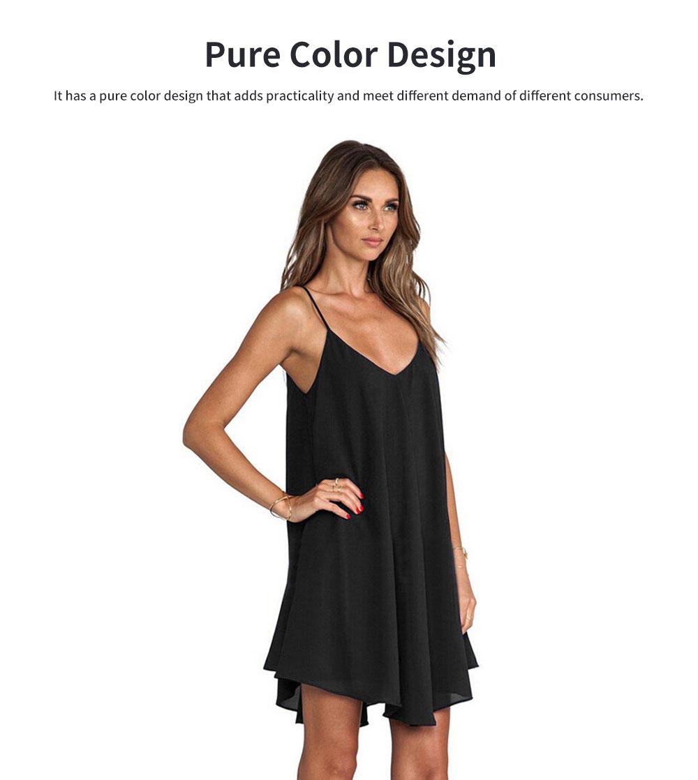 Sexy V Collar Back Cross Chiffon Clothes Vest Dress for Women Pure Color Condole Belt Plus-size Dress Summer 1