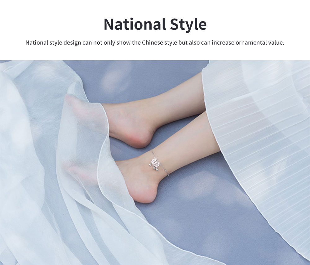 Pure Silver Anklet for Women Safety Lock and Lucky Bell National Style Fade-proof and Anti-allergy Lovely Chain 3