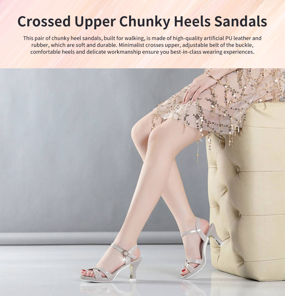 Minimalist Sexy Crossed Upper Chunky Heels Sandals, Ultra-soft Artificial Leather Peep Toe Sandals for Ladies 0