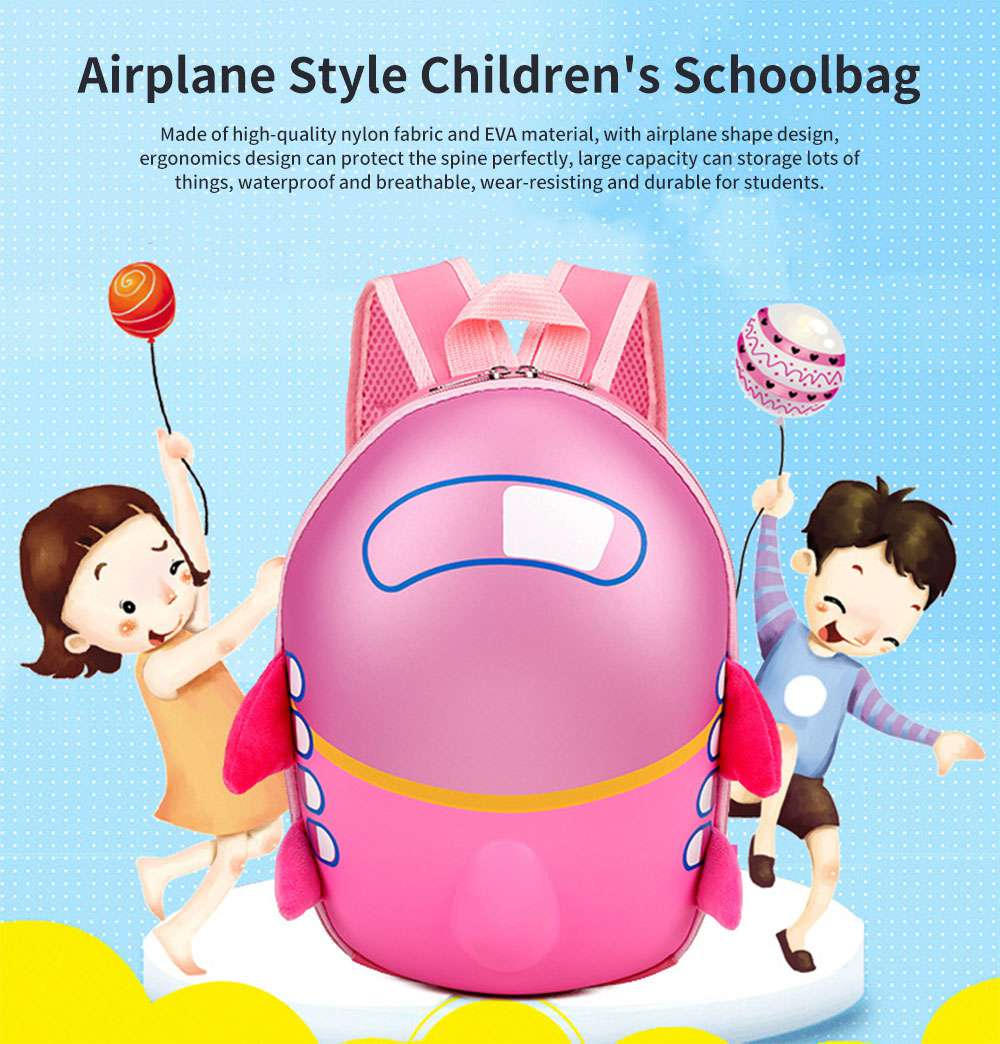 Airplane Style Children's Schoolbag for Students Egg Shape Protect the Spine Large Capacity Wear-resisting and Durable Backpack 0