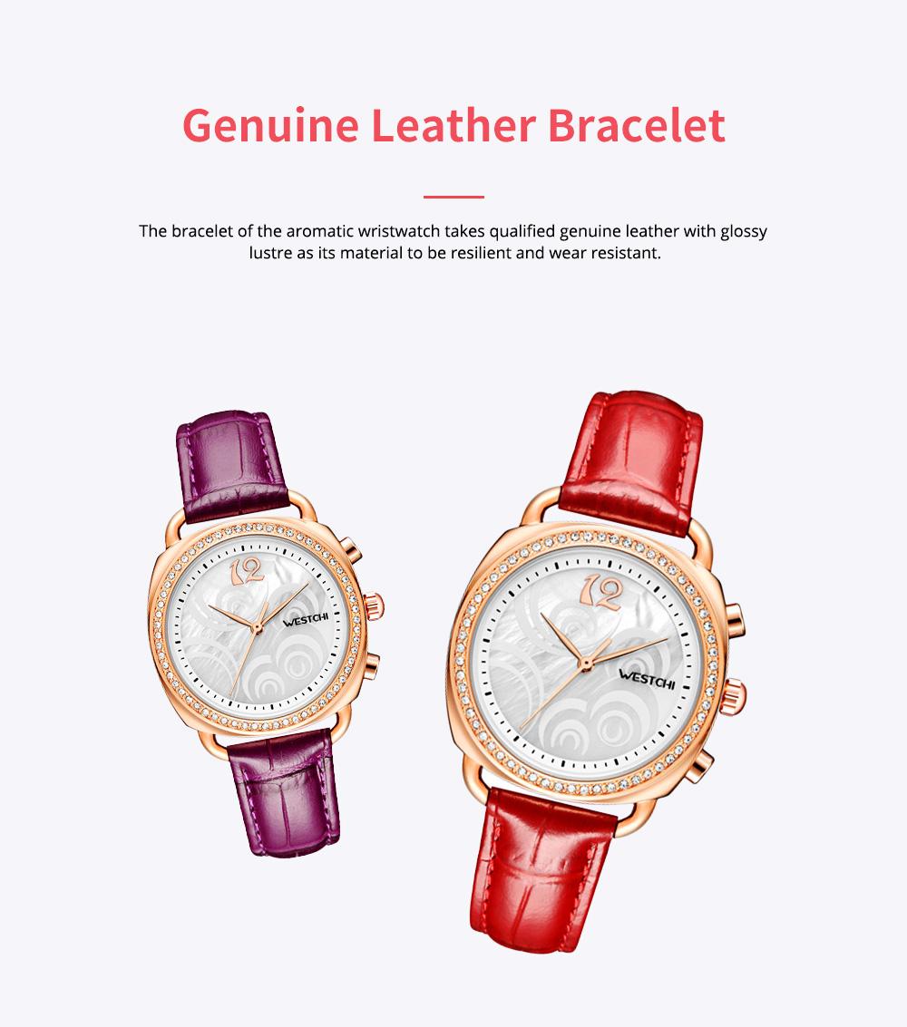 Fashionable Women's Wristwatch with Perfume Smell Screw-in Watch-head Wear Resistant Leather Miyota Quartz Watch 6