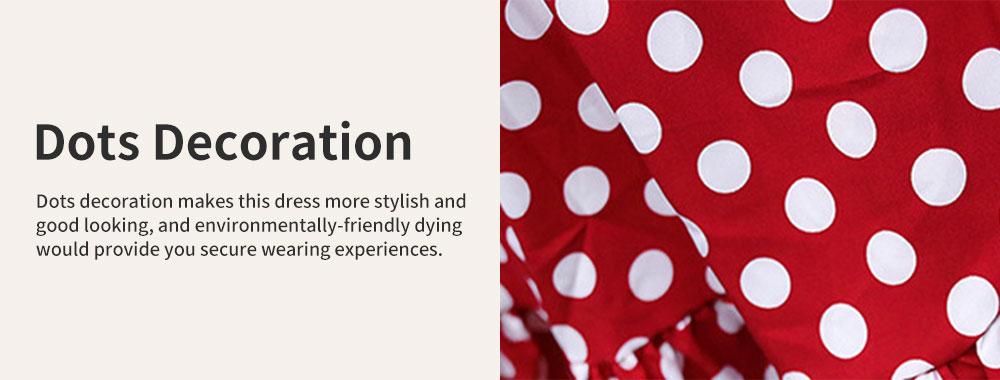 Elegant Fancy Dots Decorative V-Neck Line Dress Slim Fit Model Chiffon Lacing Dress with Falbala Sleeves 2