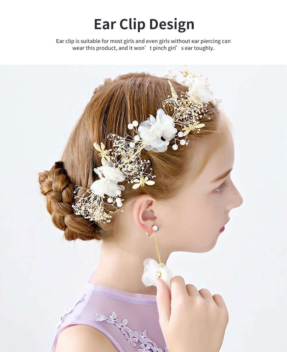 Fancy Flower Bees Model Artificial Pearl Decorative Hair Ornament Delicate Girl Crown Ear Clip Accessories Suit 3PCS 4