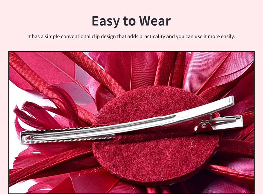 Flower Hairpin for Dinner and Annual Meeting Clip Design Western Style Feathers Decoration Plentiful Ultralight Hat 4