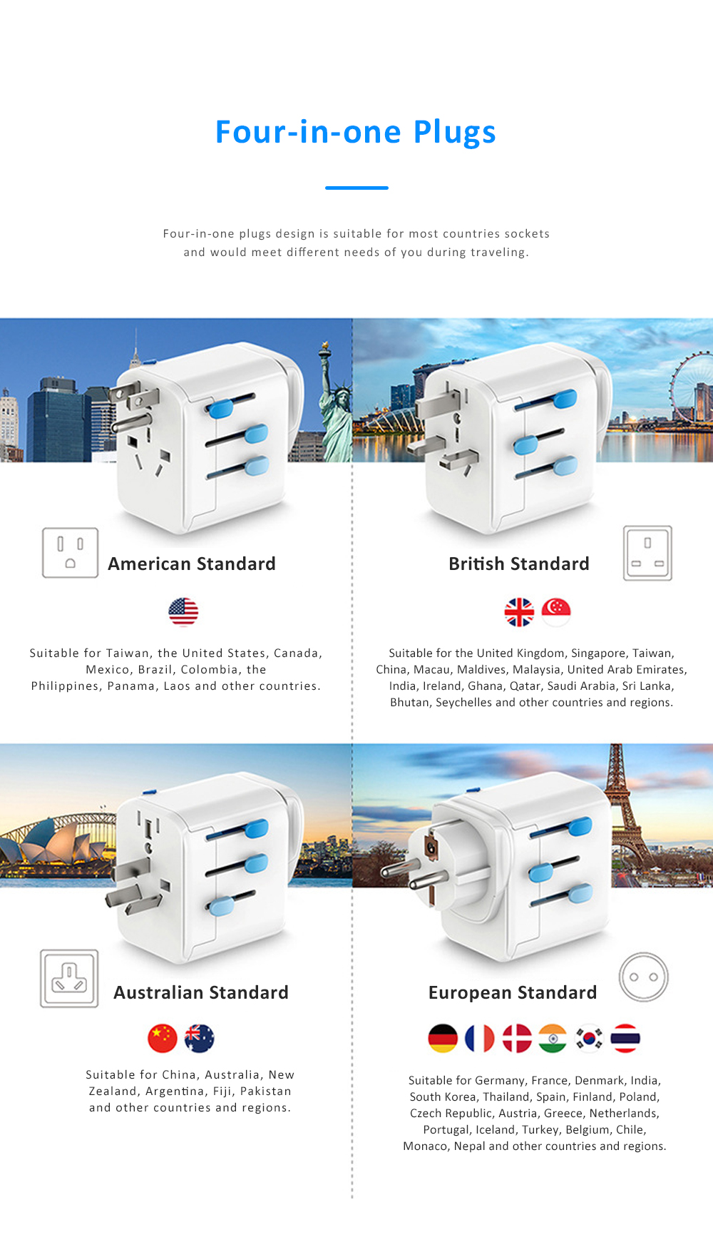 Multifunctional Traveling Two-way Adaptor with 4 USB Interfaces Phone Computer Charging Household Socket with US UK EU AU Standard 3
