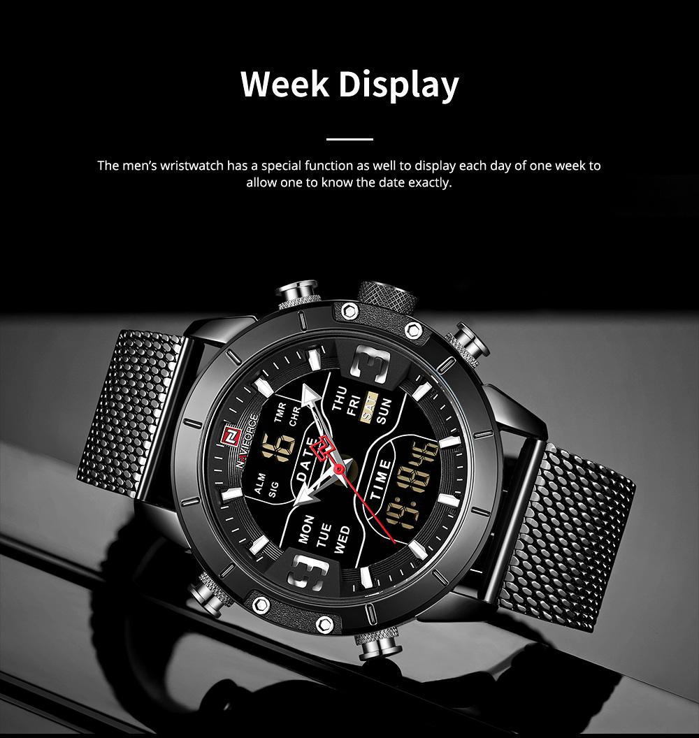 Fashionable Casual Men's Wristwatch with Stainless-steel Bracelet Waterproof Dual Display Movement Luminous Hand Quartz Sport Watch 5