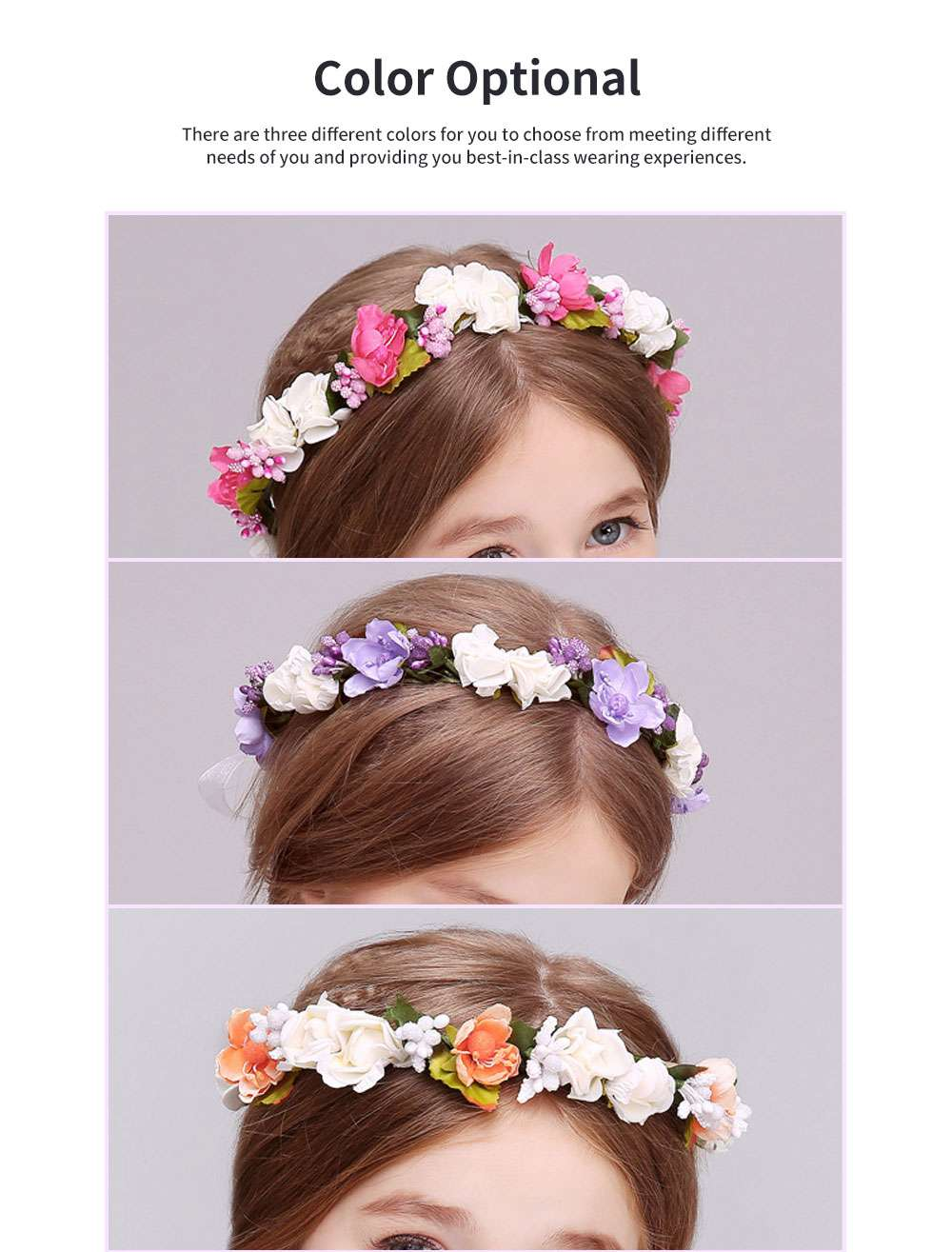 Elegant Fancy Artificial Flower Decorative Hair Band Bracelet Wedding Vacation Shooting Garland Hair Accessories Hand Chain 4