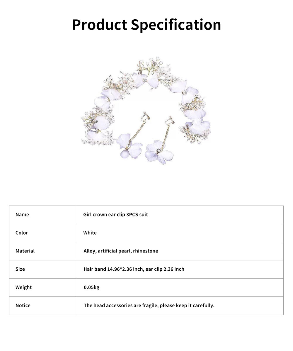 Fancy Flower Bees Model Artificial Pearl Decorative Hair Ornament Delicate Girl Crown Ear Clip Accessories Suit 3PCS 6