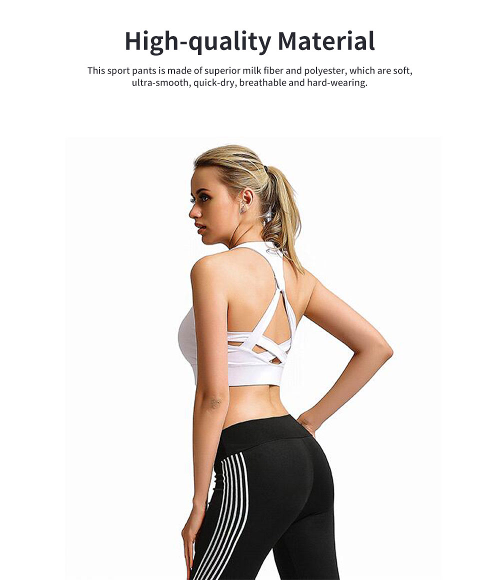 Simple Stylish Laser Stripes Decorative Sport Pants for Ladies Smooth Yoga Dance Exercise Fitness Pants 1