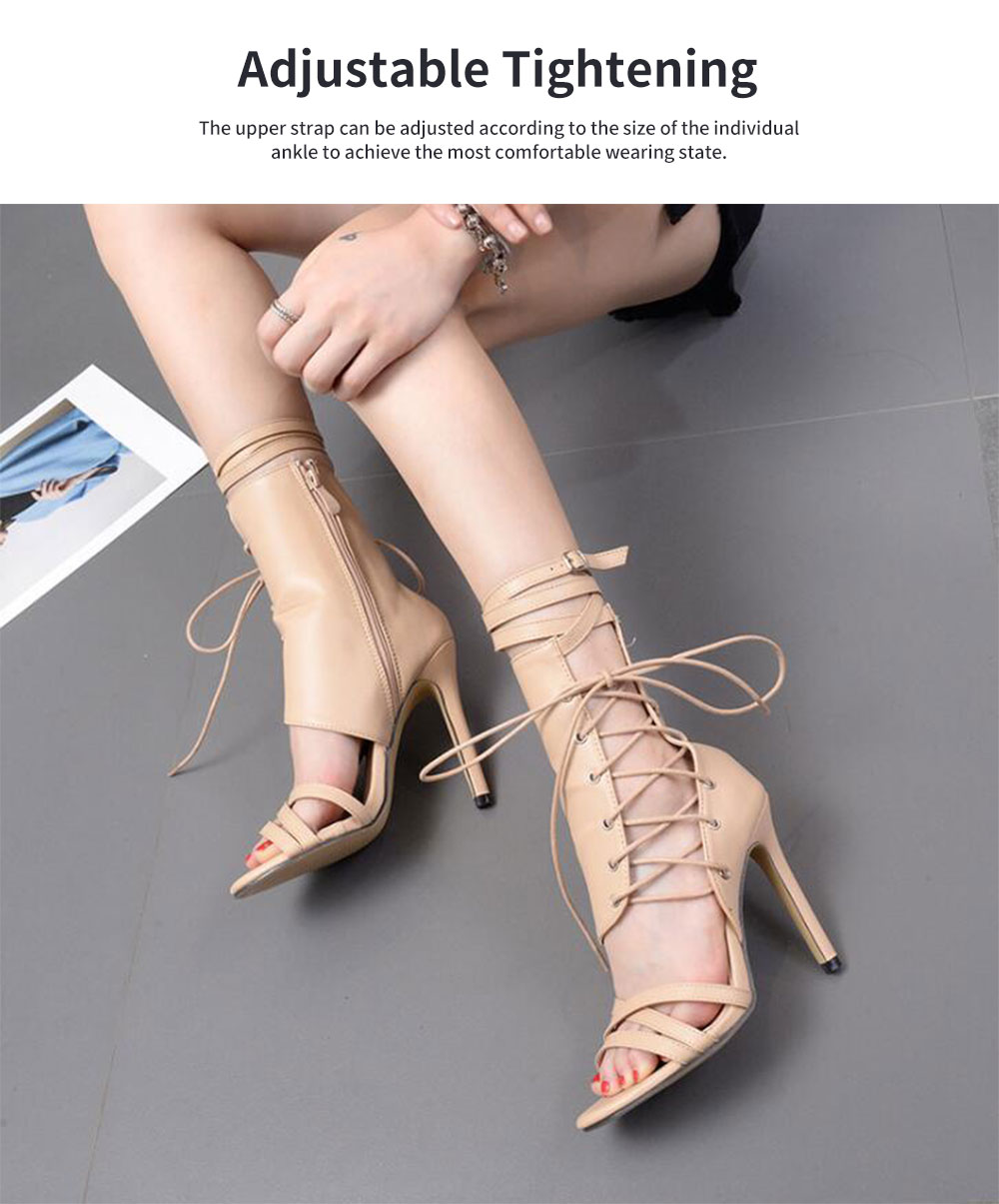 Large Strap Buckle High Heel Boots, Roman Style Fashionable Sexy Boots for Women 3