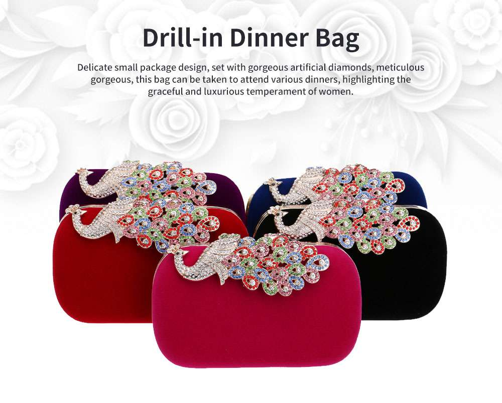 Drill-in Dinner Bag European and American Fashion Ladies' Banquet Bag Peacock Bag for Evening Dress 0