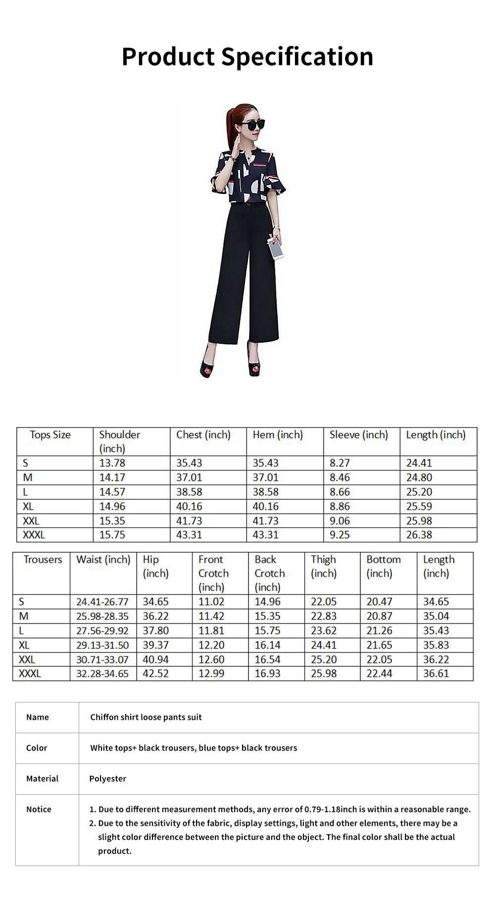 Stylish V-Neck Line Chiffon Shirt Loose Pants Suit for Ladies Minimalist Geometric Figure Pattern Decorative Tops with Falbala Sleeves 7