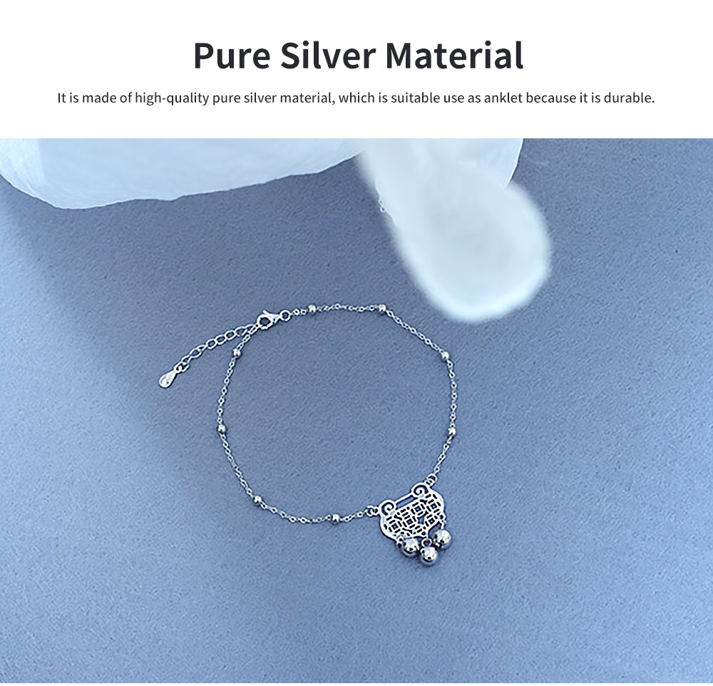 Pure Silver Anklet for Women Safety Lock and Lucky Bell National Style Fade-proof and Anti-allergy Lovely Chain 5