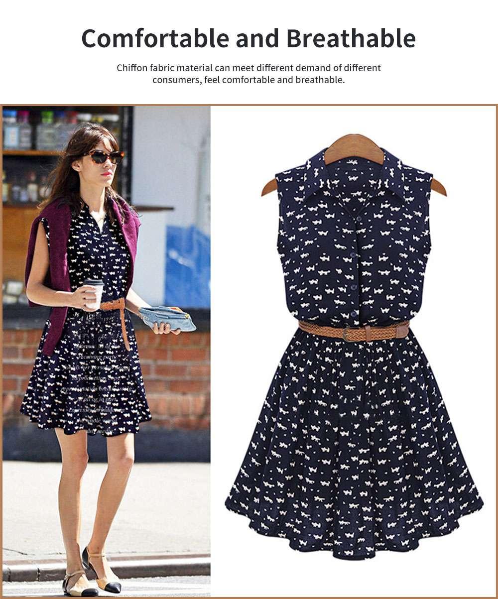 Navy Blue Print Dress for Women Lapel and Sleeveless Design Chiffon One-piece Elegant and Gorgeous Dress 1