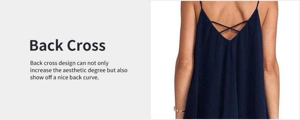 Sexy V Collar Back Cross Chiffon Clothes Vest Dress for Women Pure Color Condole Belt Plus-size Dress Summer 2