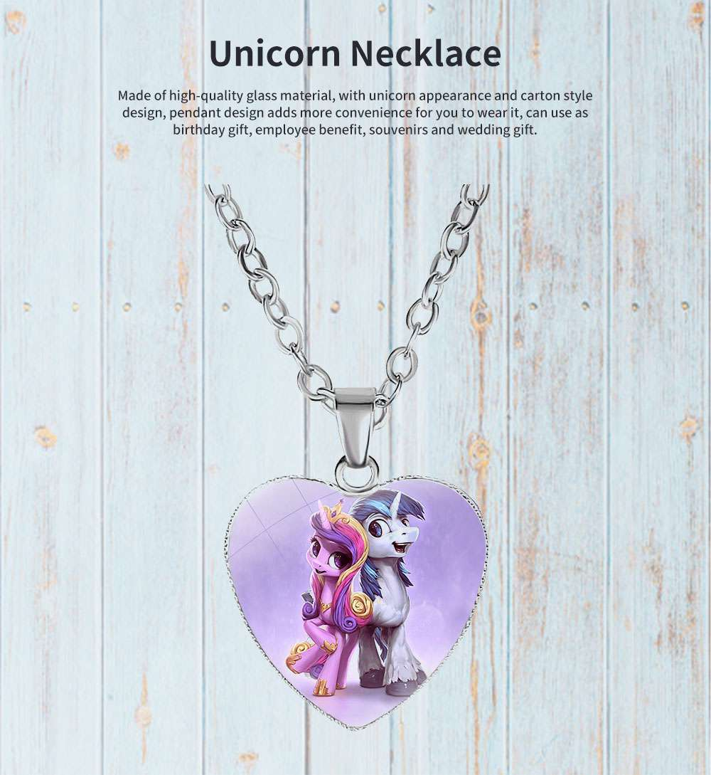 Unicorn Necklace for Birthday Gift Employee Benefit Souvenirs and Wedding Gift, Carton Style Glass Pendant Accessory 0