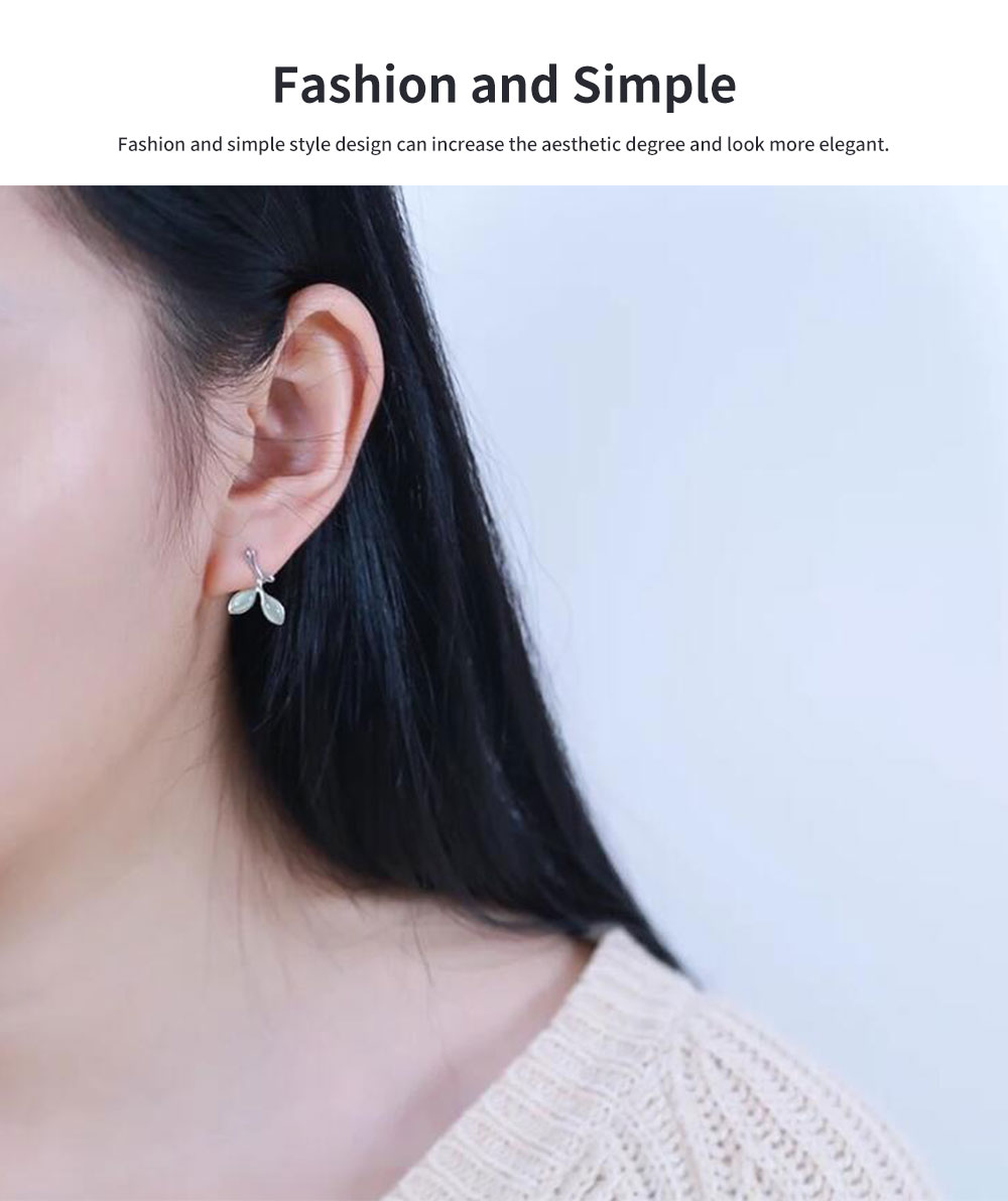 Green Leaf earrings for women Opals Pairs Suits Fashion and Simple Style 925 Sterling Sliver Ear Stud 3
