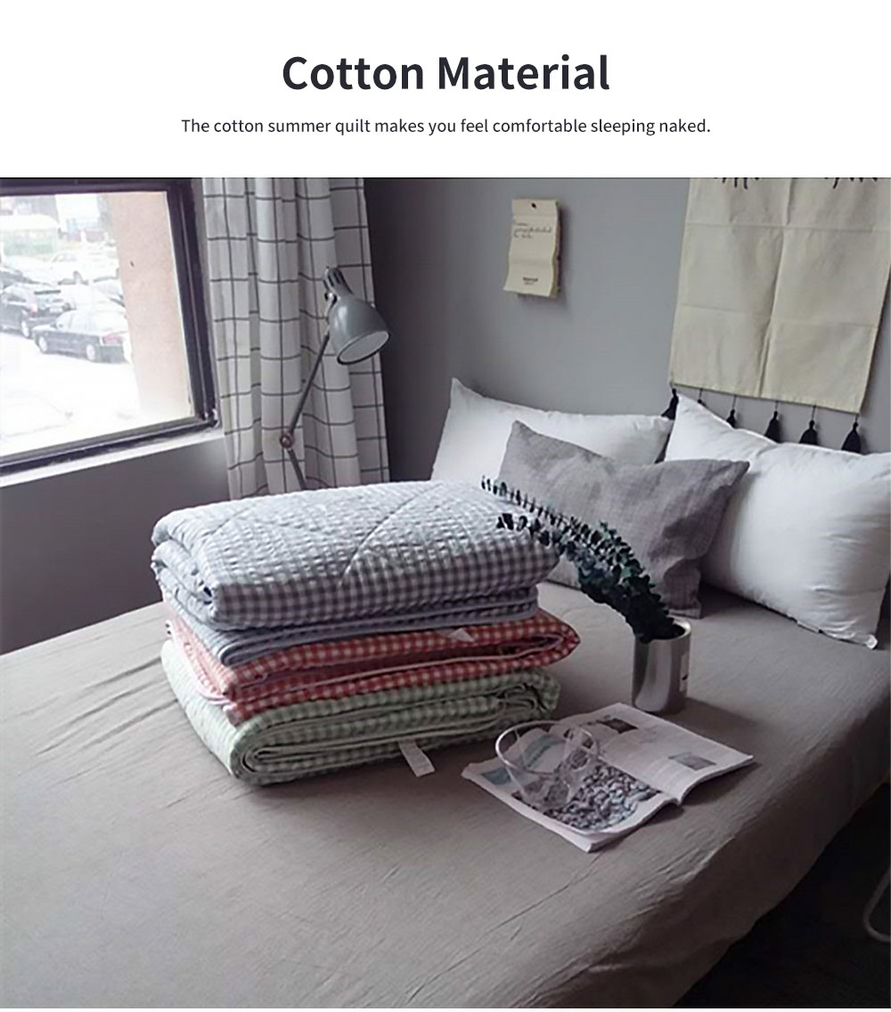 All-cotton Air-conditioned Quilt, Water-washed Cotton Summer Quilt, Machine-washable Small Plaid Pure Cotton Thin Quilt 5