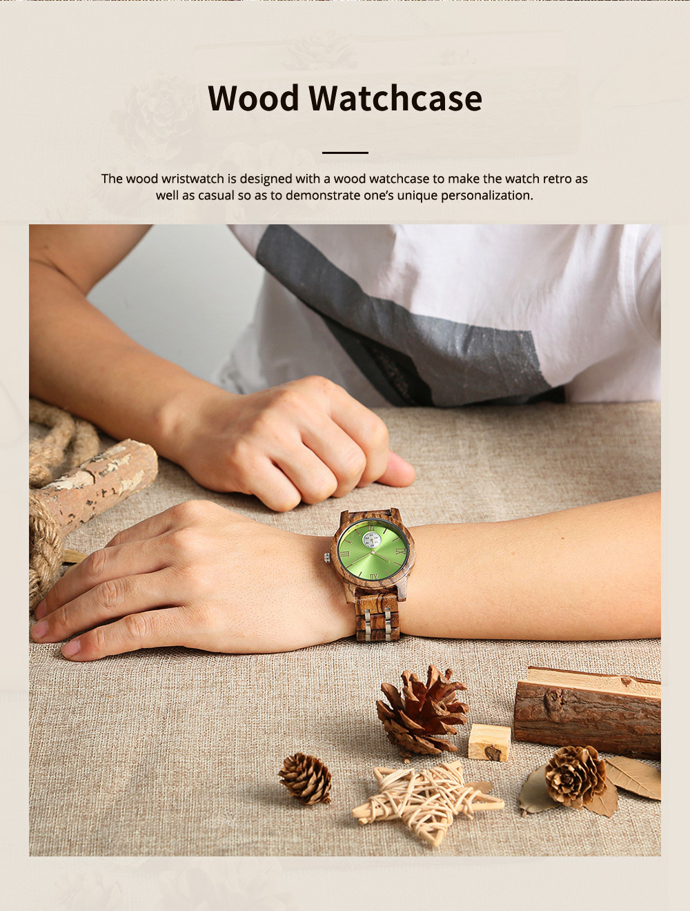 Casual Wood Watch with Wood Watchcase and Bracelet for Unisex Use Waterproof Japanese Quartz Movement Wood-steel-mixed Wristwatch 1