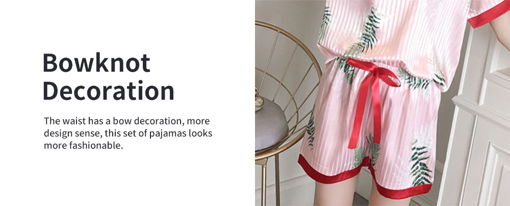 Summer V-neck Lady Silk-like Household Suit, V-neck Pullover Short-sleeved Shorts Pajamas 4
