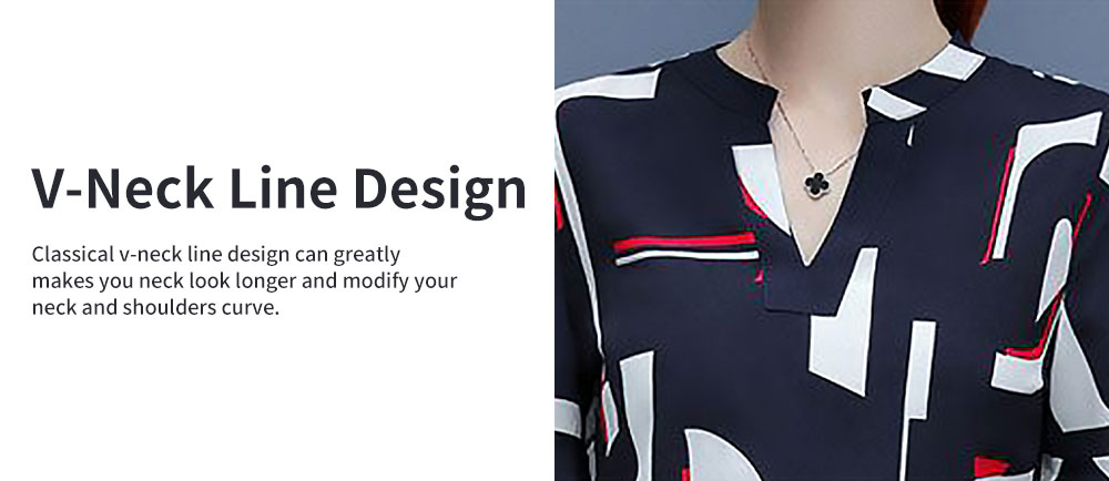 Stylish V-Neck Line Chiffon Shirt Loose Pants Suit for Ladies Minimalist Geometric Figure Pattern Decorative Tops with Falbala Sleeves 2