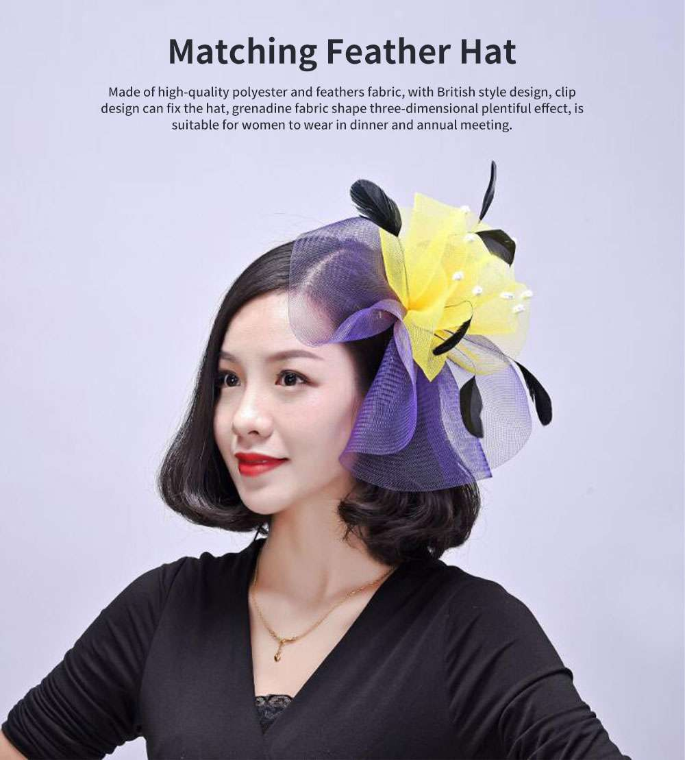 Matching Feather Hat for Dinner Annual Meeting Classic Color Fashion Feathers Grenadine British Style Cap 0