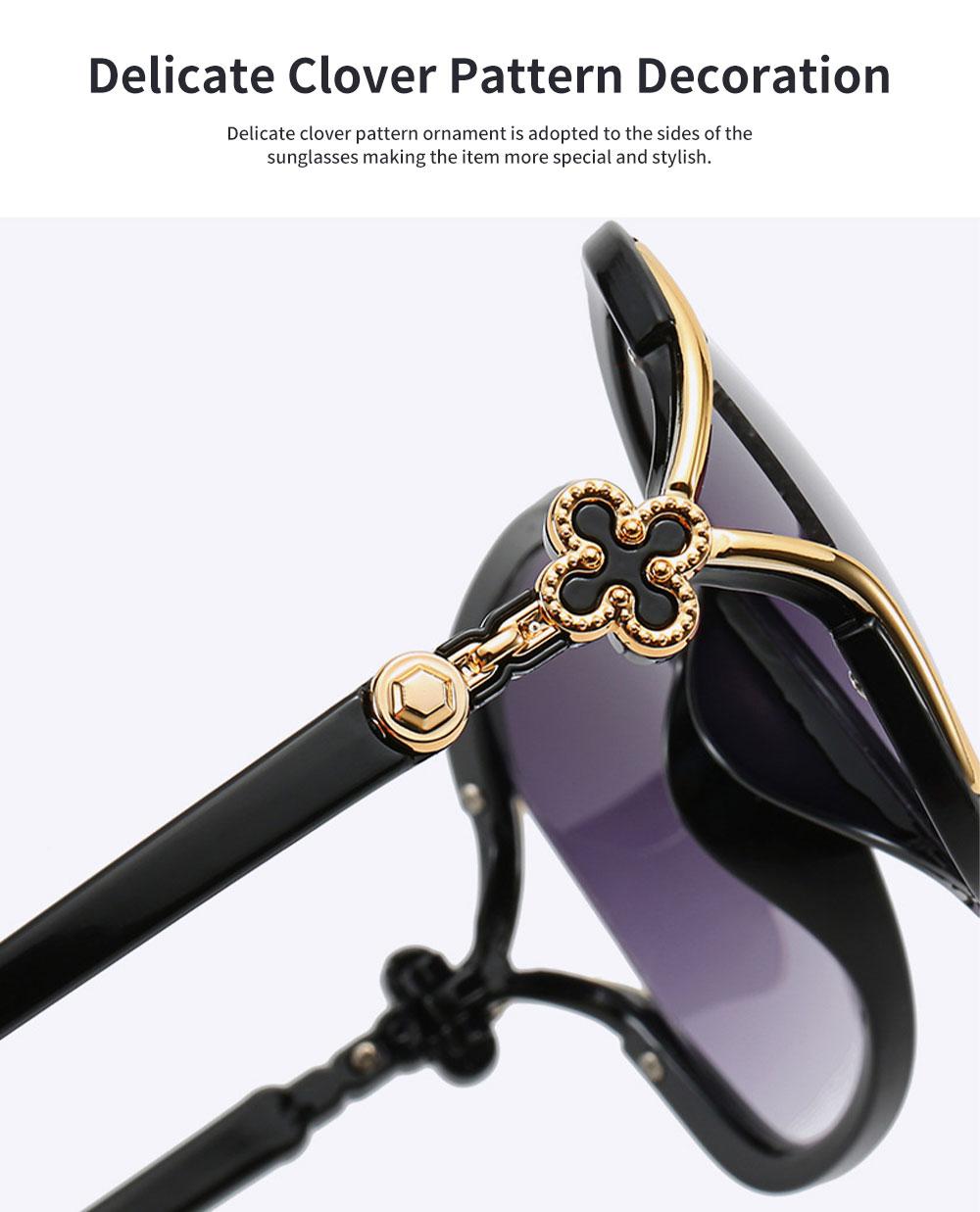 Elegant Fancy Gradient Eyeglasses Ladies Sunglasses UV Sunshine Protection Glasses with Delicate Hollow Clover Pattern Decoration 3