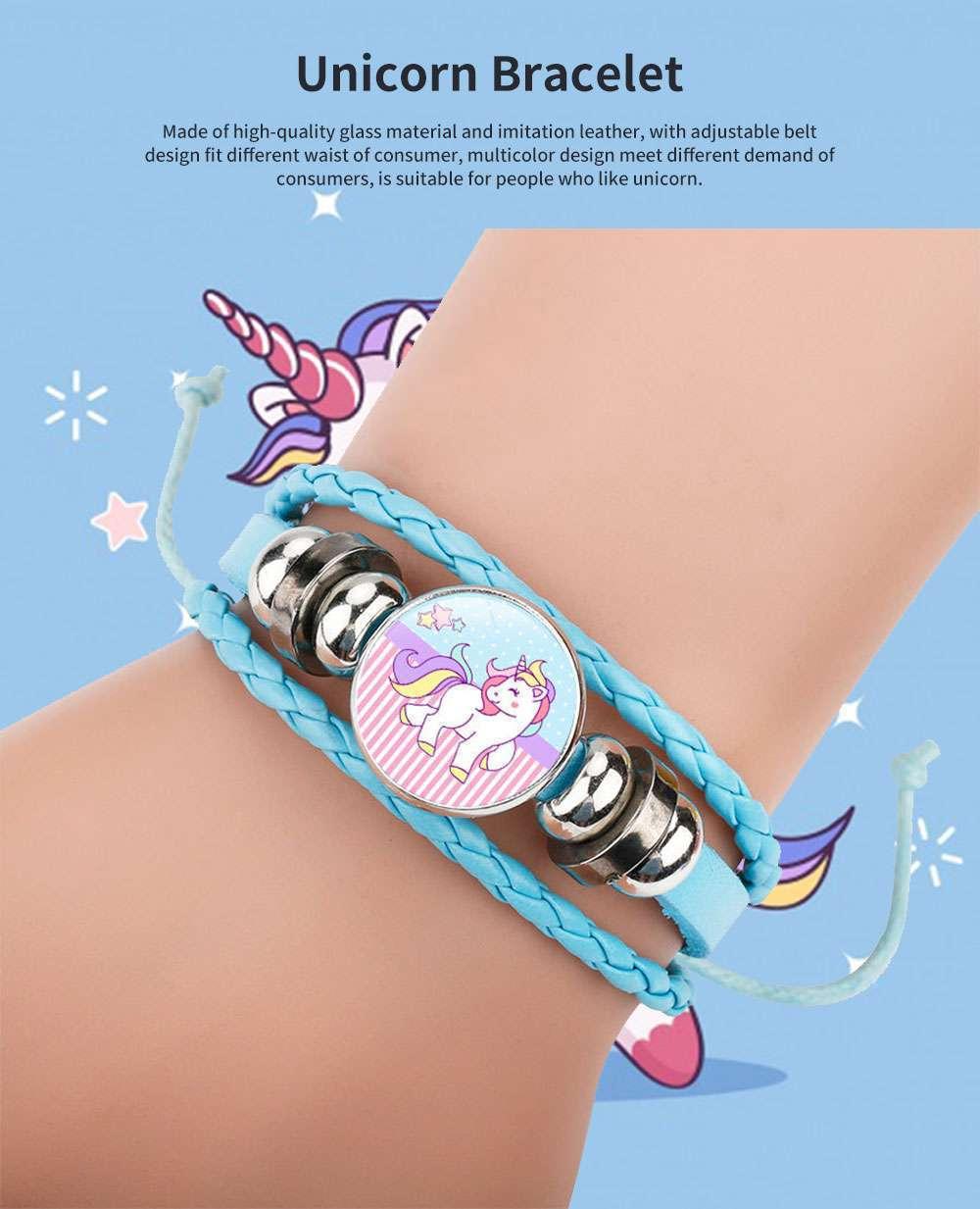 Unicorn Bracelet Ornaments Glass Material Imitation Leather Adjustable Belt Hand Catenary 0