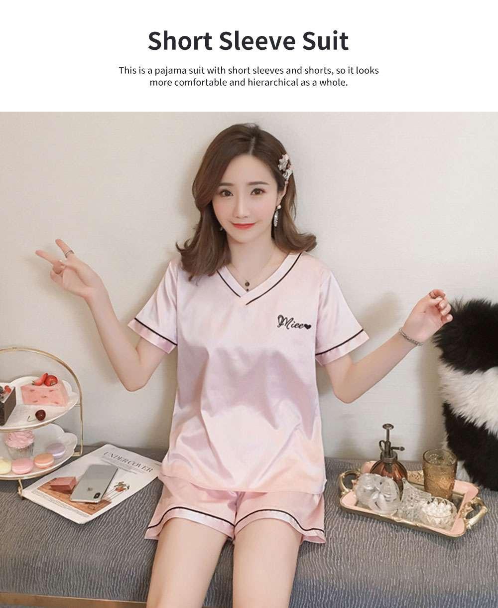 Summer V-neck Lady Silk-like Household Suit, V-neck Pullover Short-sleeved Shorts Pajamas 1