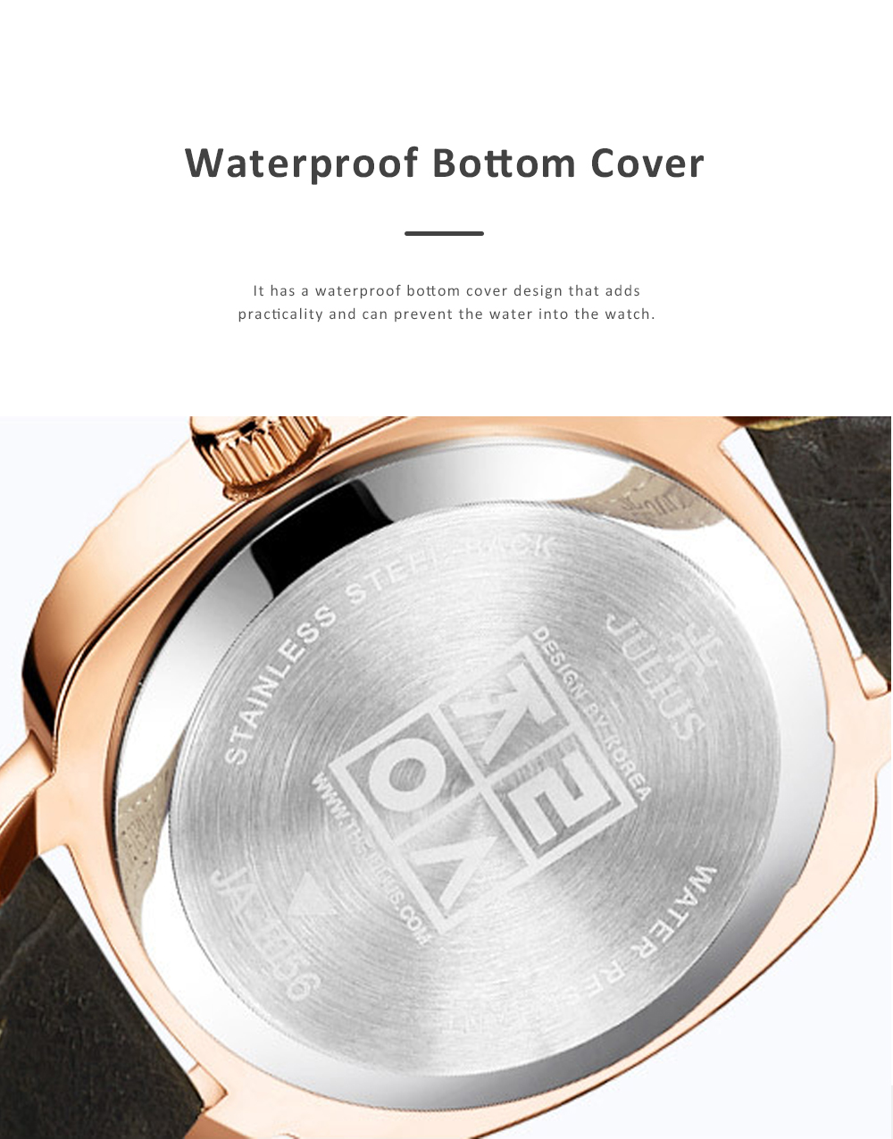 Glitter Dial Watch for Women Waterproof Bottom Cover Ultrafine Leather Strap Quartz watch 3