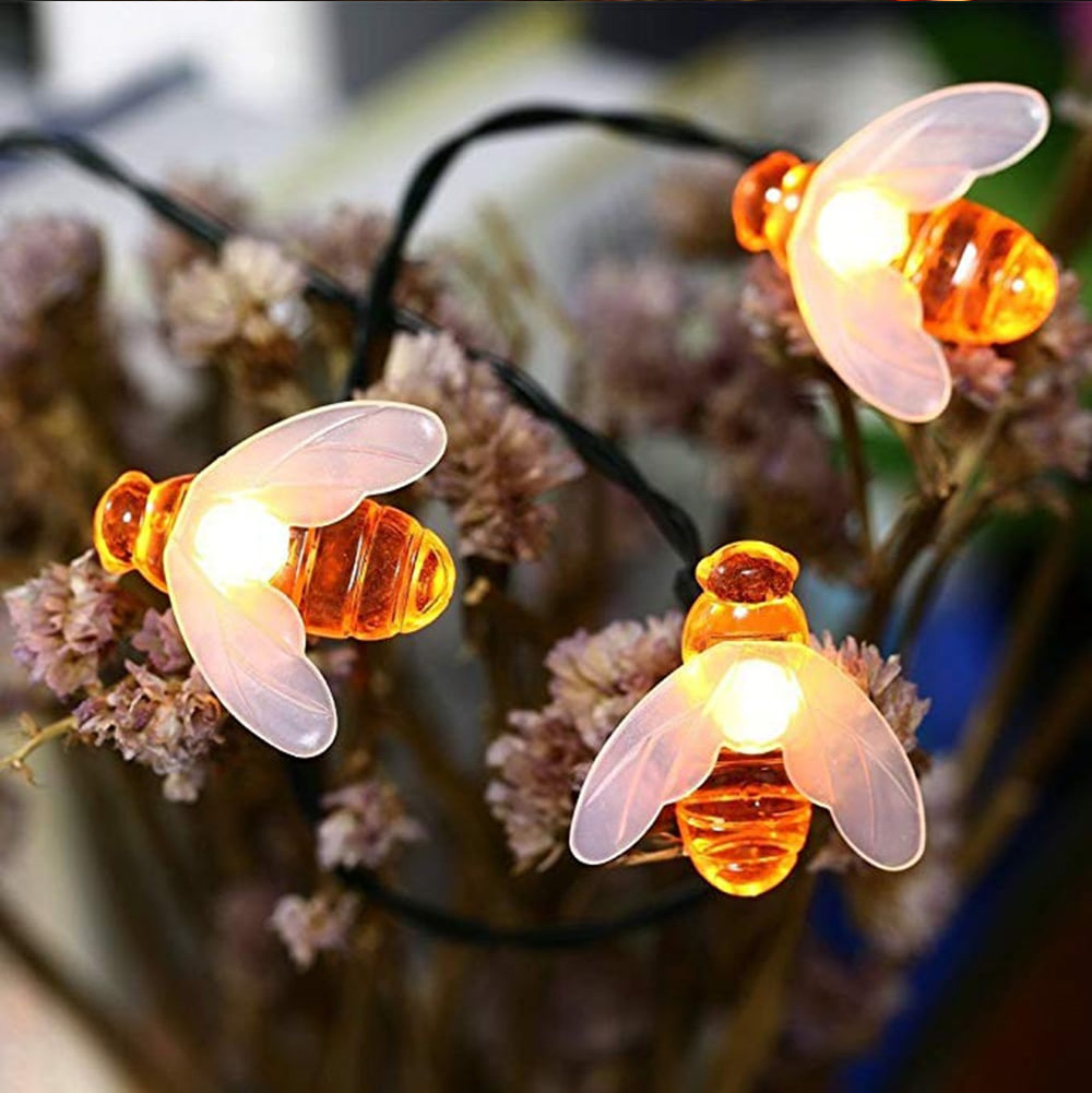 7M 50Leds Christmas Bee Shape Light Solar Powered Outdoor Decorative Lighting Waterproof 4